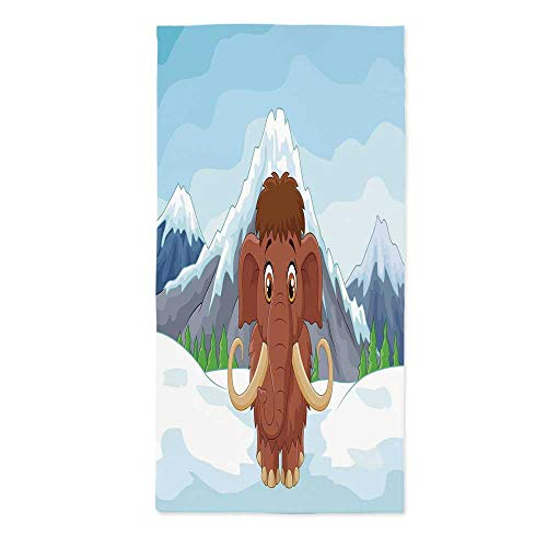 Cartoon Dust Proof Tablecloth,Baby Mammoth in Ice Snowy Mountain Winter Cheerful Animal Prehistoric Design Decorative for Kitchen Dinning Tabletop Decoration,52''W X 104.3''L