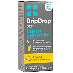 DripDrop ORS Electrolyte Hydration Powder Sticks, Lemon, Individual 10g Sticks, 8 Count