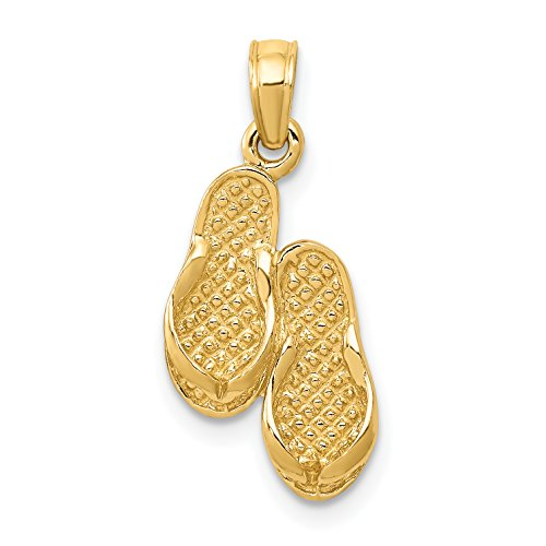 Diamond2Deal 14k Yellow Gold Flip Flops Pendant