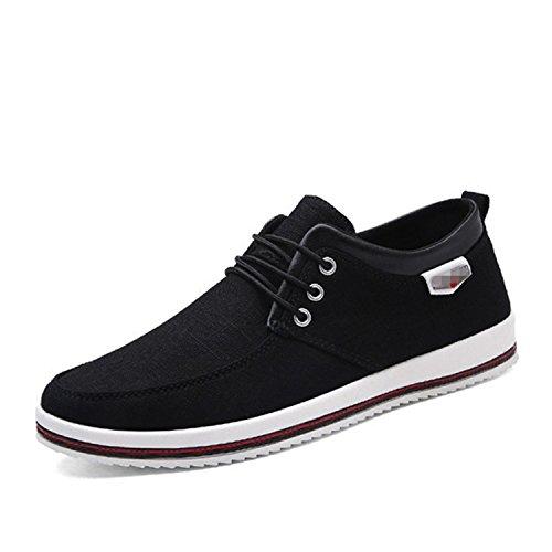 de Cordones Hombre Verano Botia Zapatillas Zapatos con Planas Negro Lona y P1wdqt7