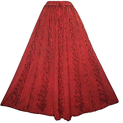 Agan Traders 712 SK Women's Elastic Boho Gypsy Medieval Embroidered Long Maxi Skirt