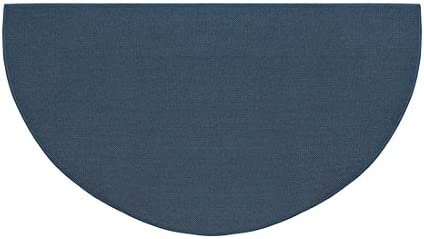 Fire Retardant Fiberglass Half Round Hearth Fireplace Area Rug Polyester Trim Non Slip Mat Low Profile Protects Floors from Sparks Embers Logs 32 W x 60 L Blue