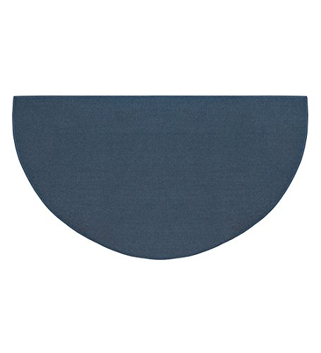 Fire Retardant Fiberglass Half Round Hearth Fireplace Area Rug Polyester Trim Non Slip Mat Low Profile Protects Floors from Sparks Embers Logs 32 W x 60 L Blue (Hearth Protector Floor)