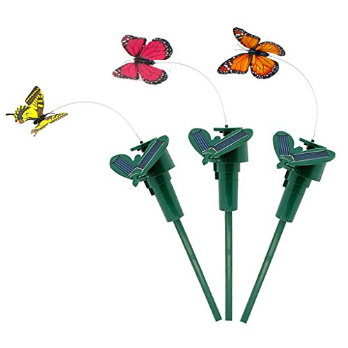 Vnfire 3 Pcs Solar / Battery Powered Flying Wobble Fluttering Butterfly Yard Garden Plants Flowers Stake Ornament Decor