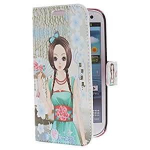 Cartoon Style Girl Pattern PU Leather Case with Stand for Samsung Galaxy S3 I9300