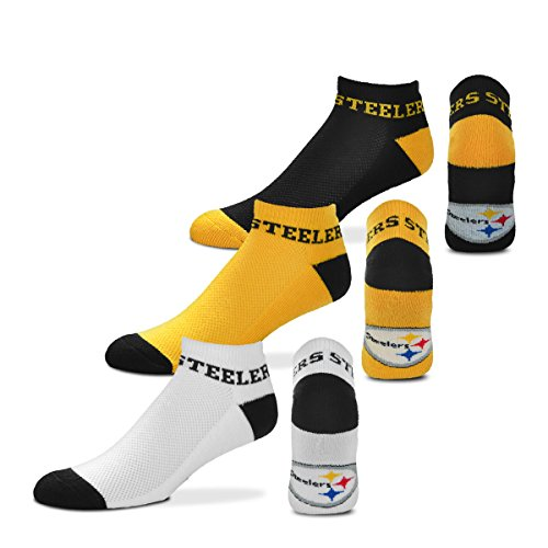 For Bare Feet $100 Money No-Show Ankle Socks 3 Pack Youth Size 13, 1-5 (Approx. 4-8 years old) - Pittsburgh Steelers