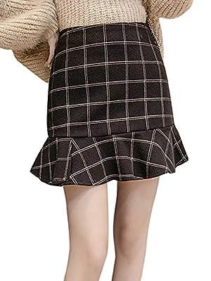 AUSZOSLT Women's Junior High Waist A-Line Ruffles Plaid Wool Blend Bodycon Mini Skirt