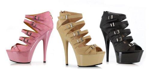 Ellie 609-una 6 Stilett Kvinnor Sandal I Pu Med Multi Spänne Accenter, Rosa Pu, 8 Storlek