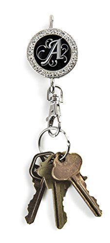 Alexx Finders Key Purse 01B-Mono A Bling Monogram A Finders Key Purse, Black