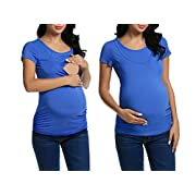 MAXMODA Women's Mandy Maternity Nursing Cotton Nursing Top Blue XL