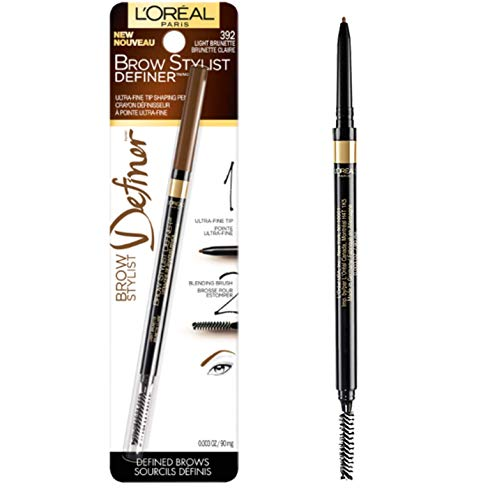 L'Oréal Paris Makeup Brow Stylist Definer Waterproof Eyebrow Pencil, Ultra-Fine Mechanical & Retractable Brow Pencil, Draws Tiny Brow Hairs & Fills in Sparse Areas & Gaps, Light Brunette, 0.003 oz.