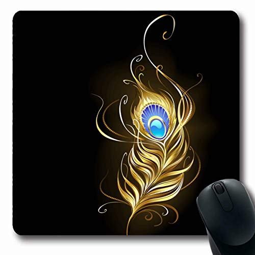 (Tobesonne Mousepads Peacock Creative Gold Jewelry Feather Blue Gem Foil On Golden Royal Black Conceptual Graphic Design Oblong Shape 7.9 x 9.5 Inches Non-Slip Gaming Mouse Pad Rubber Oblong Mat)