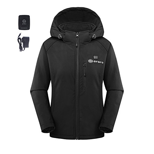 ORORO Women's Slim-Fit Wireless Heated Jacket Kit with Battery Pack and Detachable Hood (M)