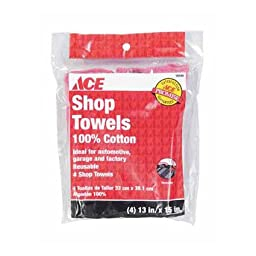 Shop Towels 195 Sq In Each 100% Cotton Red 4/PK