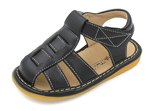 Image of Little Mae's Boutique Brown, Black or Navy Blue Fisherman Boy Squeaky Sandals Shoes