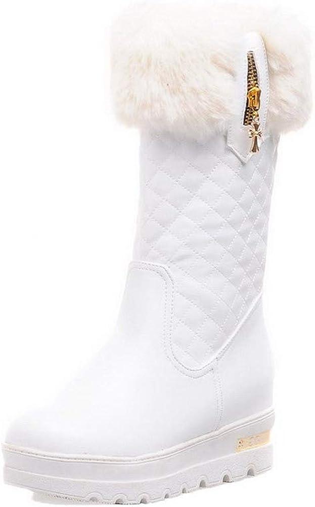AmoonyFashion Womens Zipper Round-Toe Kitten-Heels Pu Low-Top Boots BUSXU115979