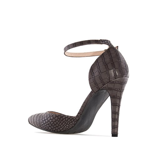 Andres Machado AM5200.Ankle-Tie Stilettos In Snake Print/Faux Leather.Womens Petite&Large Szs:US 2 To 5 -US 11.5 To 13/EU 32 To 35 -EU 43 To 45 Grey Snake Print 4L5Hp