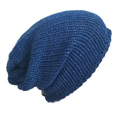 Amazon.com  Womens Lightweight Blue Alpaca Slouchy Beanie Hat  Handmade ddcf103864f