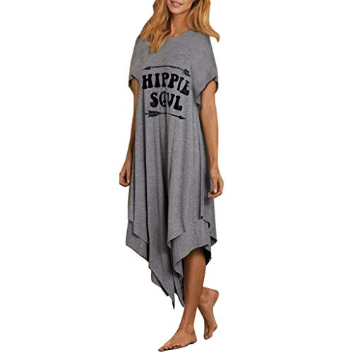 Womens Hippie Soul T-Shirt Dress Comfy Hot Fashion Short Sleeve Swing Tunic Shift Dress with Double Layer Asymmetry Hem Grey