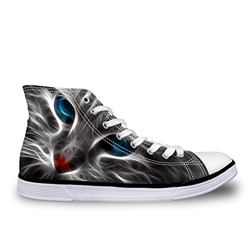Hugs Idea Hugsidea Cool Cat Face Scarpe Di Tela Stree Lace Up Scarpe Da Ginnastica Alte Top Us7