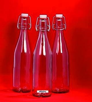 12 botellas de vidrio vacías 500 ml con botellas de licor cerradura de la correa,