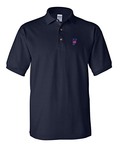 Vermont State Flower Embroidery Polo Shirt Golf Shirt - Navy, Large