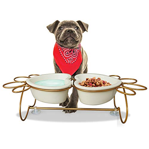 (Artsay Elevated Dog Cat Bowls Food Water Dishes Raised Pet Feeder Set, Heart-Shape Ceramic Bowl with Paws Stainless Steel Stand)
