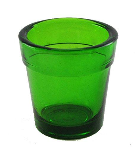 Green Glass Flower Pot Candle Holder for Votive or Tealight