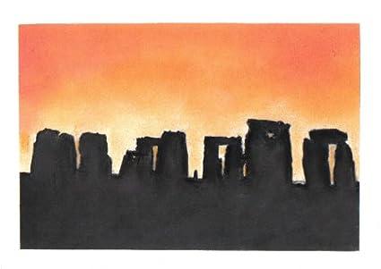 STONEHENGE de puesta de sol de dibujo de silueta de Pastel + soporte