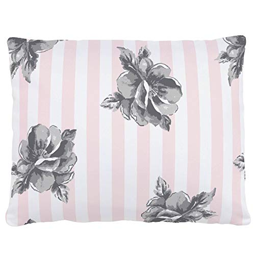 Carousel Designs Pink and Gray Floral Stripe Accent Pillow