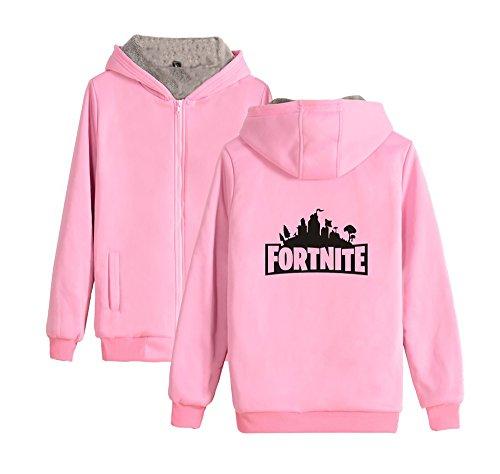 Donne Pink Plus Uomini Con Per E Aivosen Outwear Zip Invernale Cashmere Cappuccio Fortnite Comode Unisex Cappotto a7Z6qB