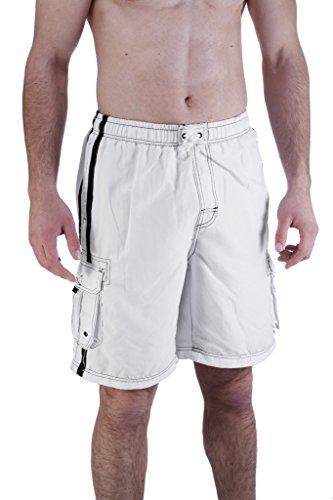 Mens Swim Trunk With Cargo Pockets X-Large, White