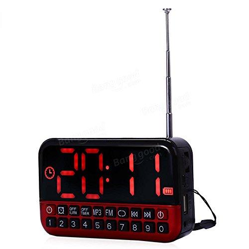 (Radio Portable Speaker - Speaker Fm Radio - VST ST-2 LED Alarm Clock Radio Digital Clock Multifunctional Sleep Timer Display MP3 Player Speaker Portable FM Radio - Red (Alarm Clock Radio Speaker) )