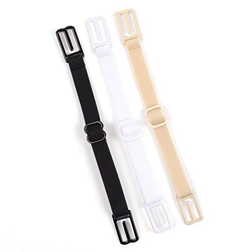 ZXUY 3 Pcs Non-slip Women's Elastic Bra Strap Holder Beige, Black, White