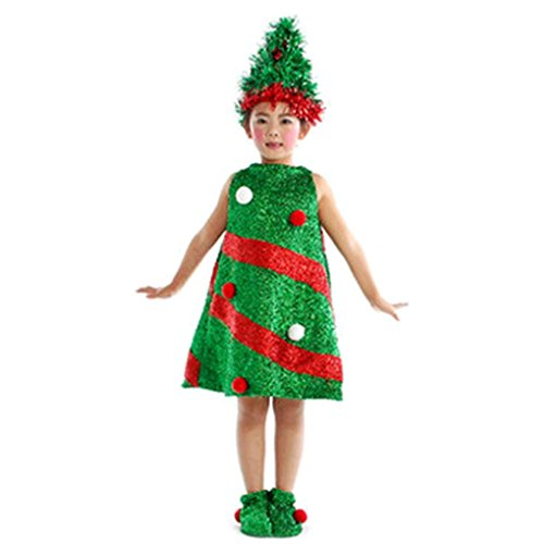 Christmas Tree Costume Toddler (SUNBIBE 4-15 Years old Kids Girls Christmas Tree Style Costume Party Dresses+Hat+Socks Outfit (5-6 Years old, Green))