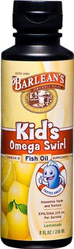 Huile Barlean Kid Bio Huiles de poisson Omega Swirl, saveur de limonade, 8-Ounce Bottles (Pack de 2)