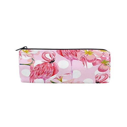 WOZO Pink Flamingo Polka Dot Flower Pen Pencil Case Makeup Cosmetic Pouch Case Travel Bag -