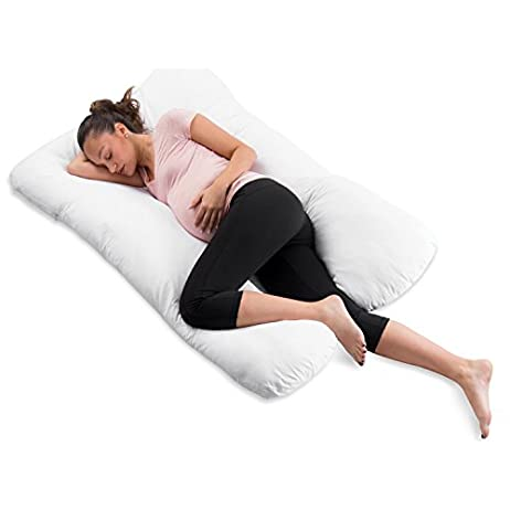 "ComfySure Pregnancy Pillow - 59"" U Shaped Full Body Pillow for Maternity Support or Side Sleepers - Hypoallergenic, Comfortable Cushion for Pregnant or Nursing Women, Supports Back, Hips, Legs & Belly 1"