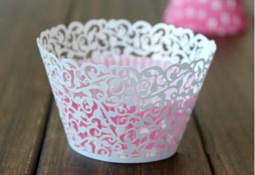 Worldoor® Pack of 60 Laser Cut Vine Filigree Pearlescent Cupcake Muffin Wrappers Wedding Birthday Party Baby Shower Cake Cases/r Cut White Flower Vine Cupcake Wrappers Wraps Wedding Birthday Tea Party Decorations