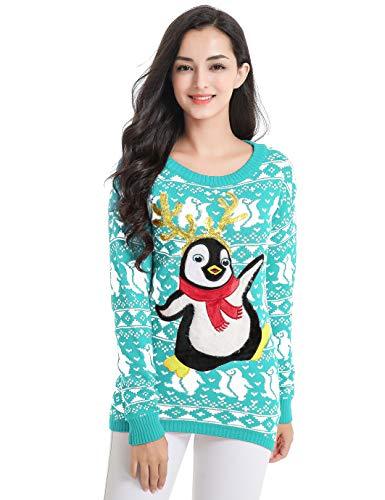 v28 Ugly Christmas Sweater, Women Girl Junior Cute Penguin Clothes Jumper Sweater (Medium, Lake Blue) -