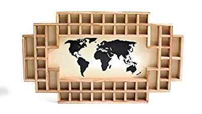 Shot Glass Display Frame - 52 Spaces - Solid Wood Frame - World Map - US Map