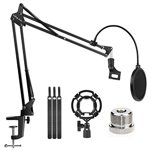 Desktop Microphone Stand with Mic Pop Filter Shock Mount