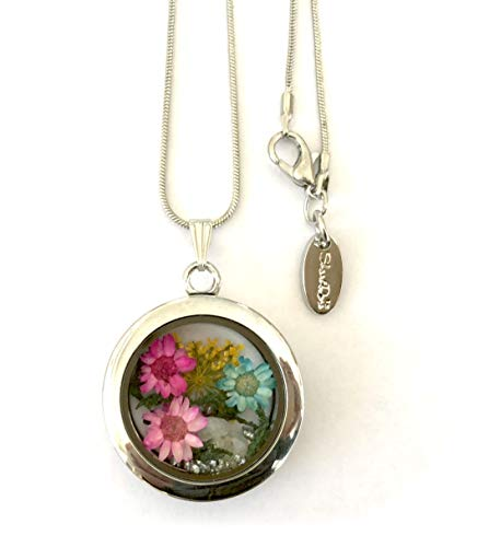 ShariRose Real Flower Necklace Pendant Glass Floating Locket Silver Botanical Jewelry Mini Terrarium (4 Pressed Flowers Citron Silver Rocks Moss - f002) ()