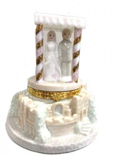 Porcelain Jewish Wedding Hinge Box / Wedding Cake -