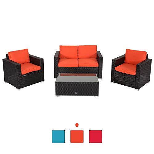 Peach Tree Outdoor Furniture Sectional Wicker Sofa Set 4 PCs Patio Resin Rattan, All-Weather Washable Waterproof Orange Cushions, w/Glass Coffee Table, Backyard, Pool ()