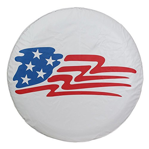 Crv Spare Tire Cover - Spare Tire Cover 14 inch Wheel Covers Protector American Flag Star White Universal for RV Jeep Camper Trailer Toyota RAV4 Honda CRV, Waterproof PVC Leather, Car Acessories (14