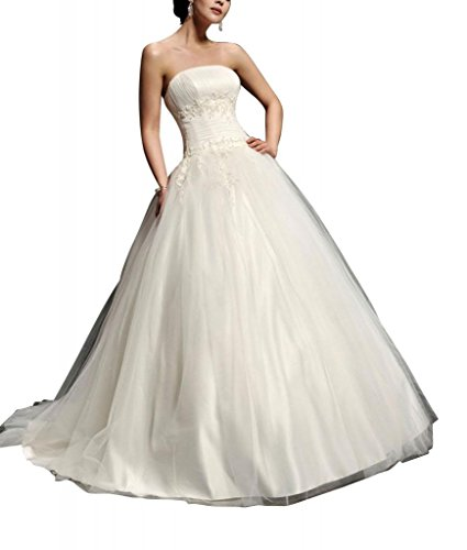 Hochzeitskleider Tuell Elfenbein Ballkleid Liebsten GEORGE Taille BRIDE Brautkleider Natuerliche Satin 8SWaYwq