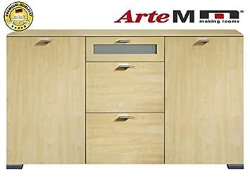 Arte M Sideboard Kommode 2 Turig Mit Schubkasten Und Milchglas