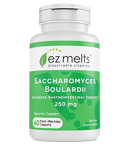 EZ Melts Saccharomyces Boulardii, 250 mg, Sublingual Vitamins, Vegan, Zero Sugar, Natural Cherry Flavor, 60 Fast Dissolve ()