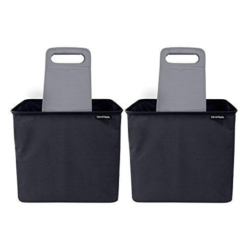 CleverMade 35L SnapBasket TrunkCaddy Collapsible Car Trunk Organizer & Storage Tote with Handles, Black/Charcoal, 2-Pack
